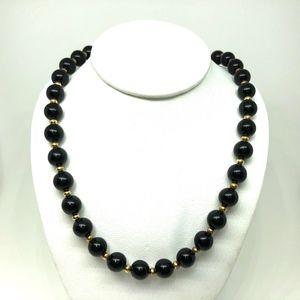 Vintage Monet Black & Gold Beaded Choker Necklace
